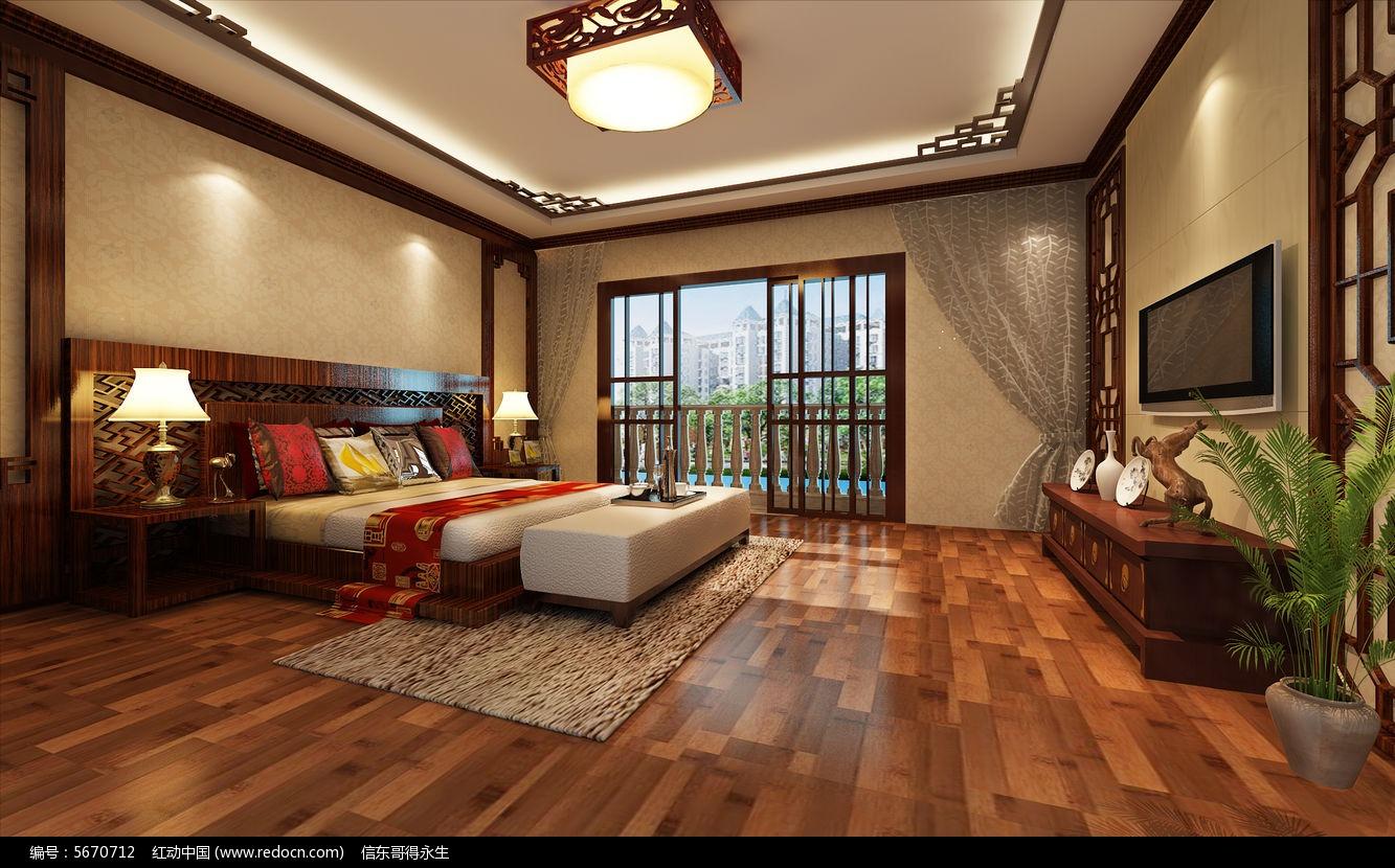 中式卧室3d模型下载图片