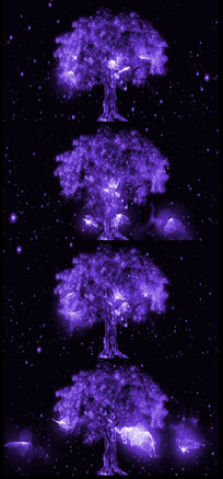 唯美浪漫爱情紫色发光树视频