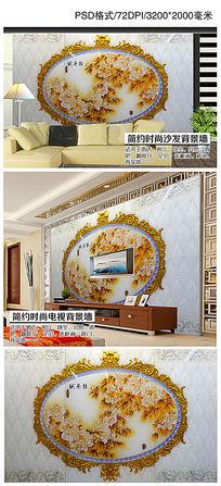 彩雕牡丹富贵艺术玻璃电视背景墙