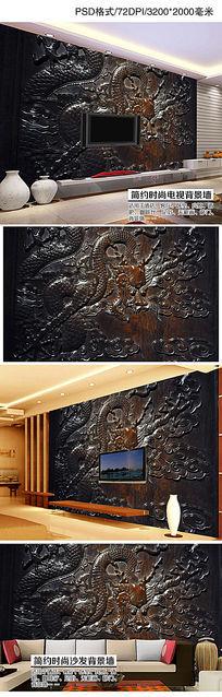 高档3D立体紫檀木雕龙纹电视背景墙