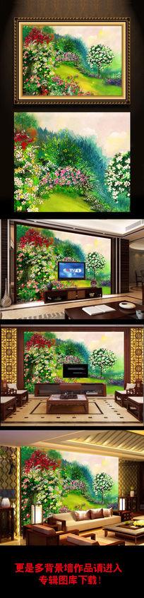 花卉风景油画装饰画背景墙画