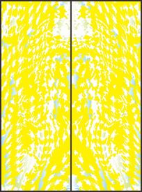 黄色淡雅几何对称花纹移门图案