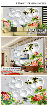 家和富贵3D圆圈牡丹花朵电视背景墙