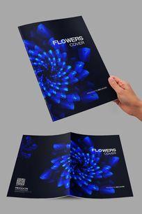蓝黑艺术花朵封面