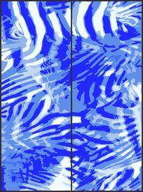 蓝色清爽动物纹花纹移门图案