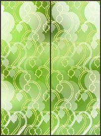 绿色清新树叶几何花纹移门图案 CDR