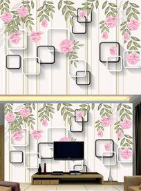 欧式3D玫瑰花藤电视背景墙