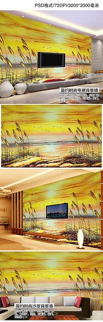 旭日东升艺术玻璃彩雕电视背景墙