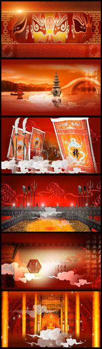 中国风国粹京剧脸谱舞台背景