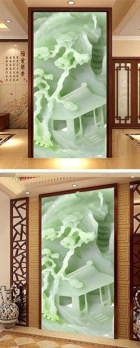 中国风国画迎客松玄关背景墙