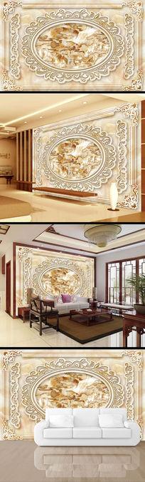中国风雄鹰展翅玉雕电视背景墙