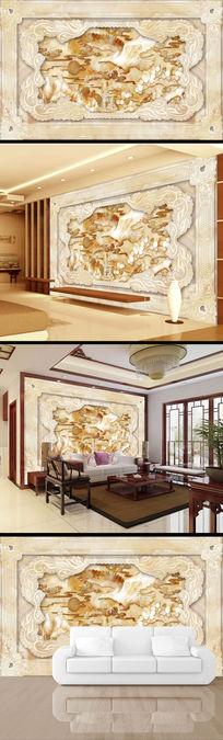 中式大鹏展翅玉雕电视背景墙设计