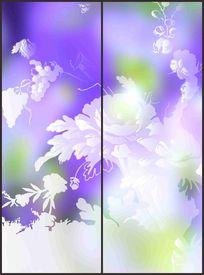 紫色淡雅折枝花朵花纹移门图案