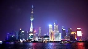 上海东方明珠外滩夜景