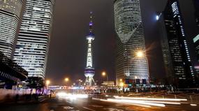 上海浦东东方明珠夜景