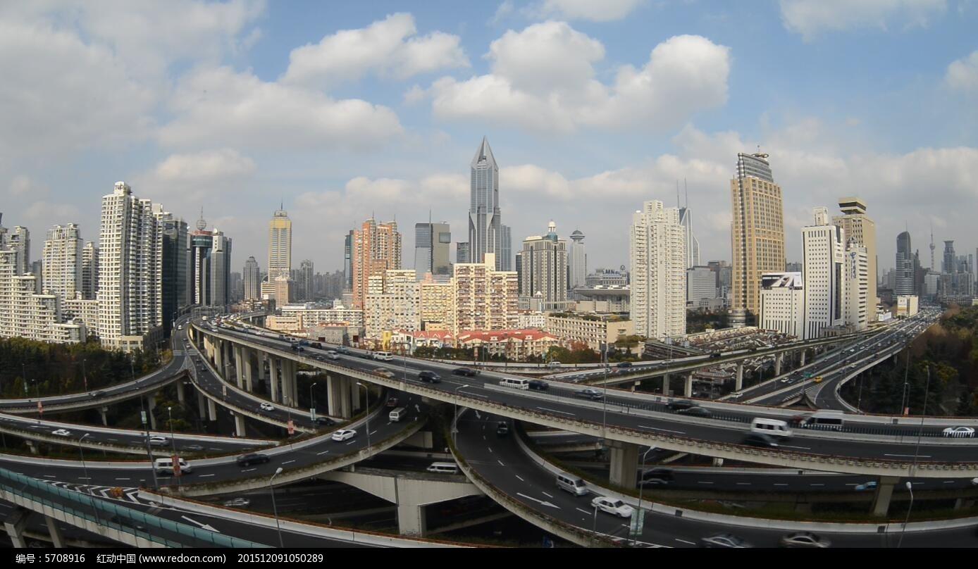 实拍上海立交桥视频