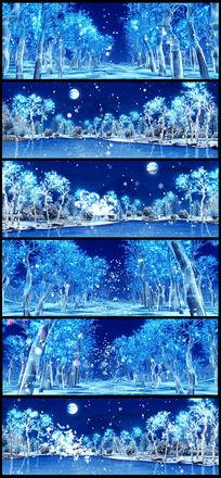 唯美月色雪花松树水晶蝴蝶飞舞婚庆视频