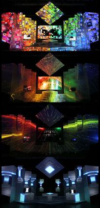 舞台灯光秀裸眼3D投影动感全息大屏幕视频 mov