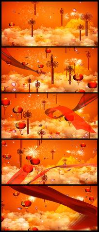 喜庆灯笼红绸中国结LED大屏幕视频