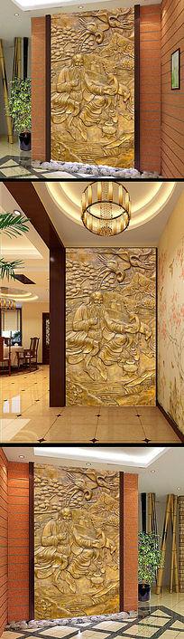 3D藏式图腾黄铜浮雕玄关屏风