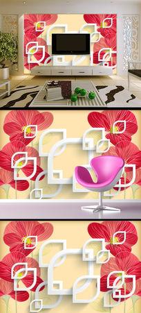 百合手绘花透明花淡雅时尚背景墙