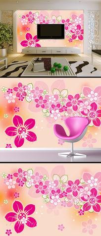 彩绘花卉客厅电视背景墙