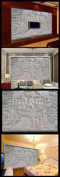 高清浮雕南山禅院壁画电视背景墙