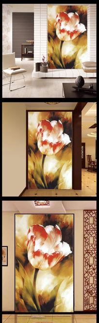 高清客厅油画玫瑰玄关背景墙