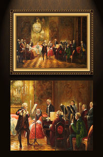 高清欧式宫廷贵族音乐聚会油画