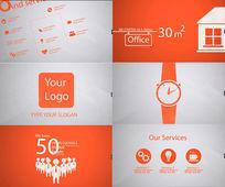 红色简洁图形动画风格企业宣传网站推广AE模板