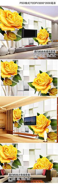 客厅3D玫瑰花纹电视背景墙