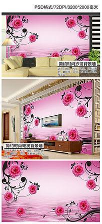浪漫粉红时尚玫瑰倒影电视背景墙