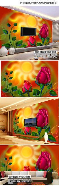 浪漫玫瑰花卉花朵电视背景墙装饰画