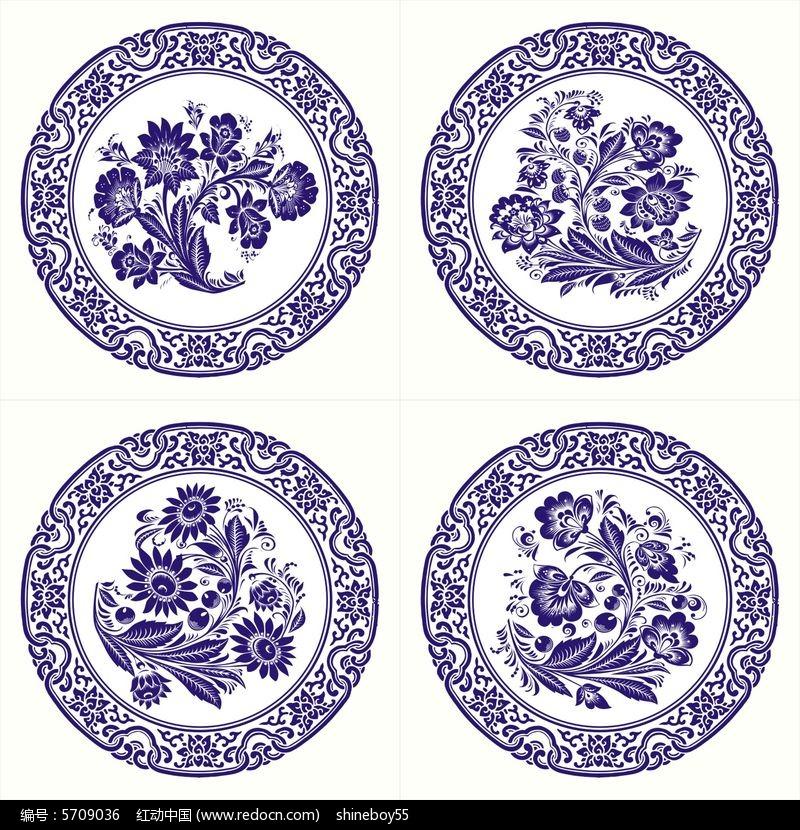 青花瓷圆盘花纹