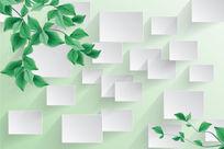 清新绿色枝叶背景墙