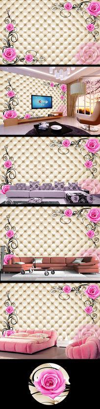 软包花纹玫瑰花电视背景墙