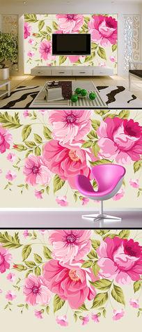 手绘玫瑰花朵现代简约电视背景墙