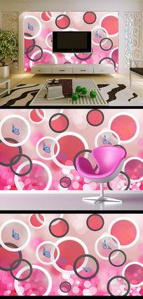 唯美3D圆圈花纹蝴蝶客厅电视背景墙