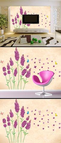紫色温馨浪漫薰衣草客厅电视背景墙壁画