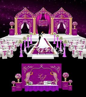 欧式紫色主题婚礼背景设计 高端婚礼背景