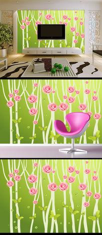 树枝玫瑰蝴蝶客厅电视背景墙