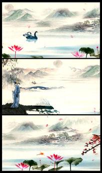 中国风水墨山水诗人视频
