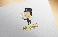 可爱卡通魔法师保险柜logo