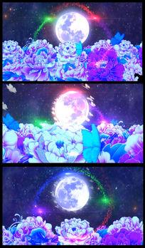 月圆牡丹中秋节背景视频素材