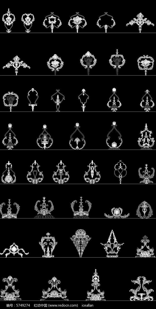 43款欧式雕花构件精细CAD图纸图片