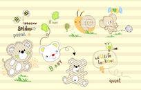 可爱动物印花图案 CDR