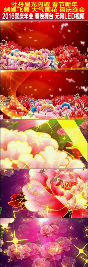 牡丹星光闪耀春节新年中国风舞台背景视频 mov