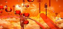 新年春节灯笼红绸视频