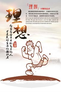 中国风企业文化励志理想漫画展板