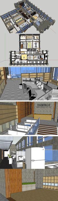 办公室室内空间草图大师SU模型